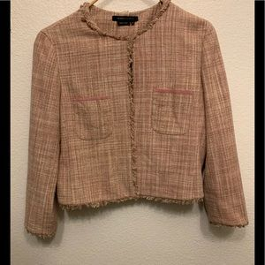 BCBG Maxazria Pink Khaki Tweed Jacket